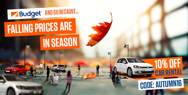 Falling prices are in season, 10% off Budget Car Rental